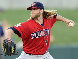 Goldeyes veteran hurler Chris Salamida was solid in Monday's Game 5, but the Fish hitters couldn't make a dent in the Lincoln Saltdogs. The Fish went down 2-0.